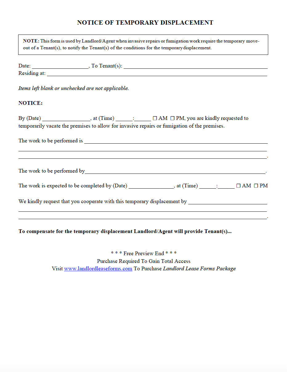Residential Rental Lease Agreement Notice Of Temporary Displacement Lease Agreement Being A Landlord The Tenant