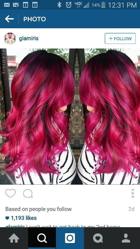 Dark Bright Pink Hair 40th Birthday Hair Color Ideas Pinterest