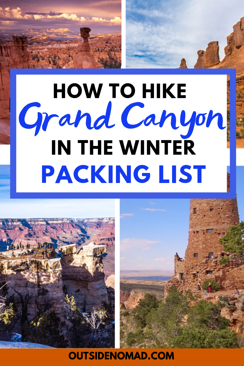 Ultimate Packing List For Hiking Grand Canyon In Winter #ultimatepackinglist The ultimate packing list for hiking or backpacking the Grand Canyon. Tips for hiking and backpacking the Grand Canyon in winter where you will have the place to yourself.  Skip the crowds and visit Grand Canyon National Park in the winter.  Comprehensive packing list for both summer and winter hiking and backpacking in Grand Canyon National Park. #ultimatepackinglist