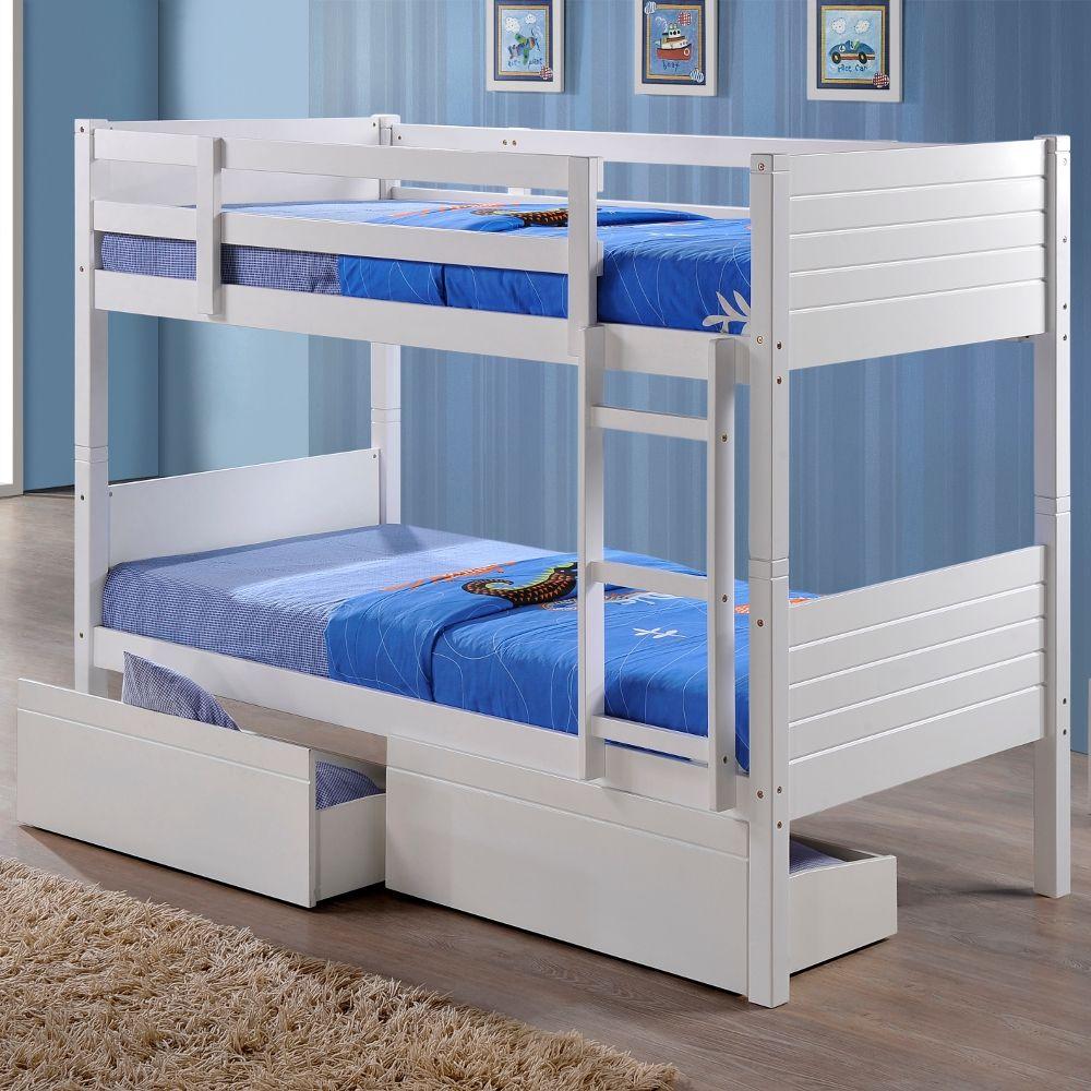 Bedford White Wooden 2 Drawer Storage Bunk Bed Frame 3ft Single