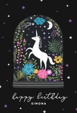 Unicorn Globe Birthday Card Free Greetings Island Unicorn Birthday Cards Birthday Cards Good Luck Cards