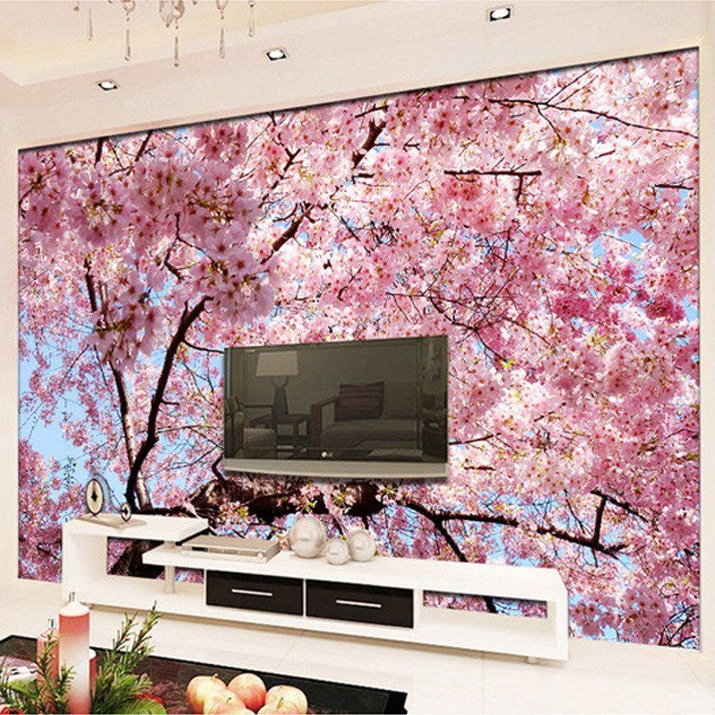 3D Cherry Blossoms Wall Mural   Creative Floral Wall Art Ideas ...