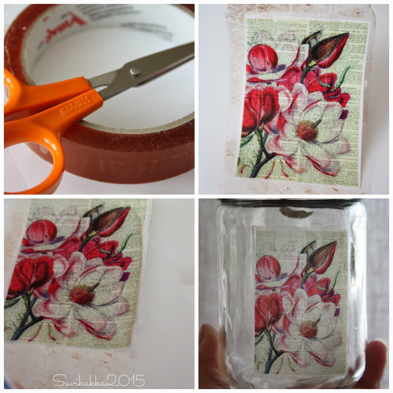 Suvikukkasia: Kuvansiirtoa pakkausteipin avulla