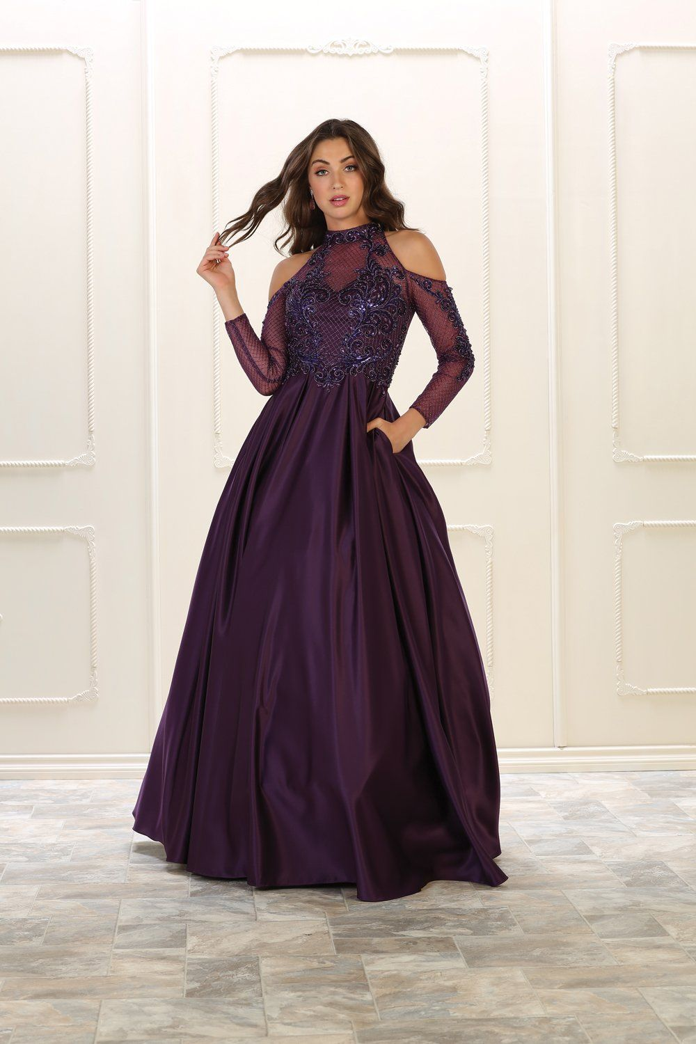 Long sleeve prom dress formal ball gown pinterest taffeta skirt