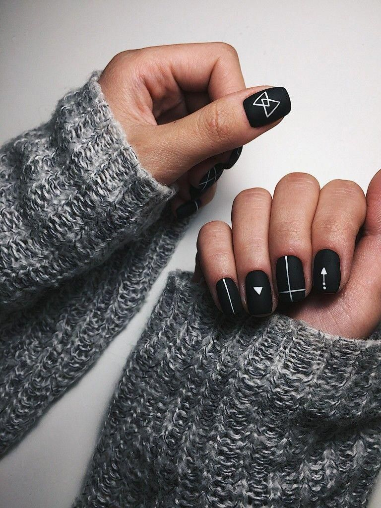 Black Matte Nails With Geometric White Line Designs Re Pinned By Breanna L Follow Me And Never Mis Matte Nails Design Black Nail Designs New Nail Designs