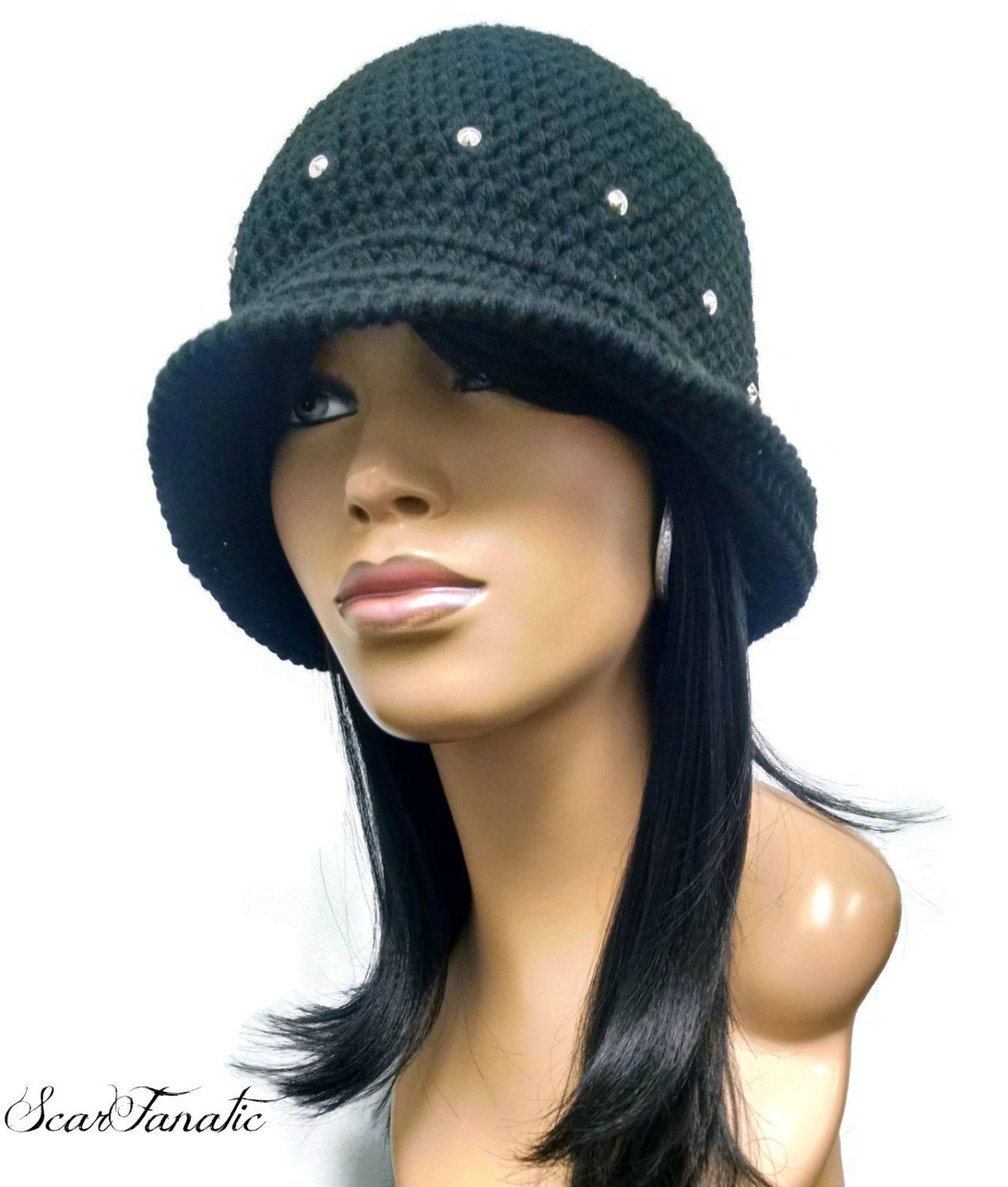 Black Cloche/Flapper Hat/Great Gatsby hat with shapeable brim/ free ...