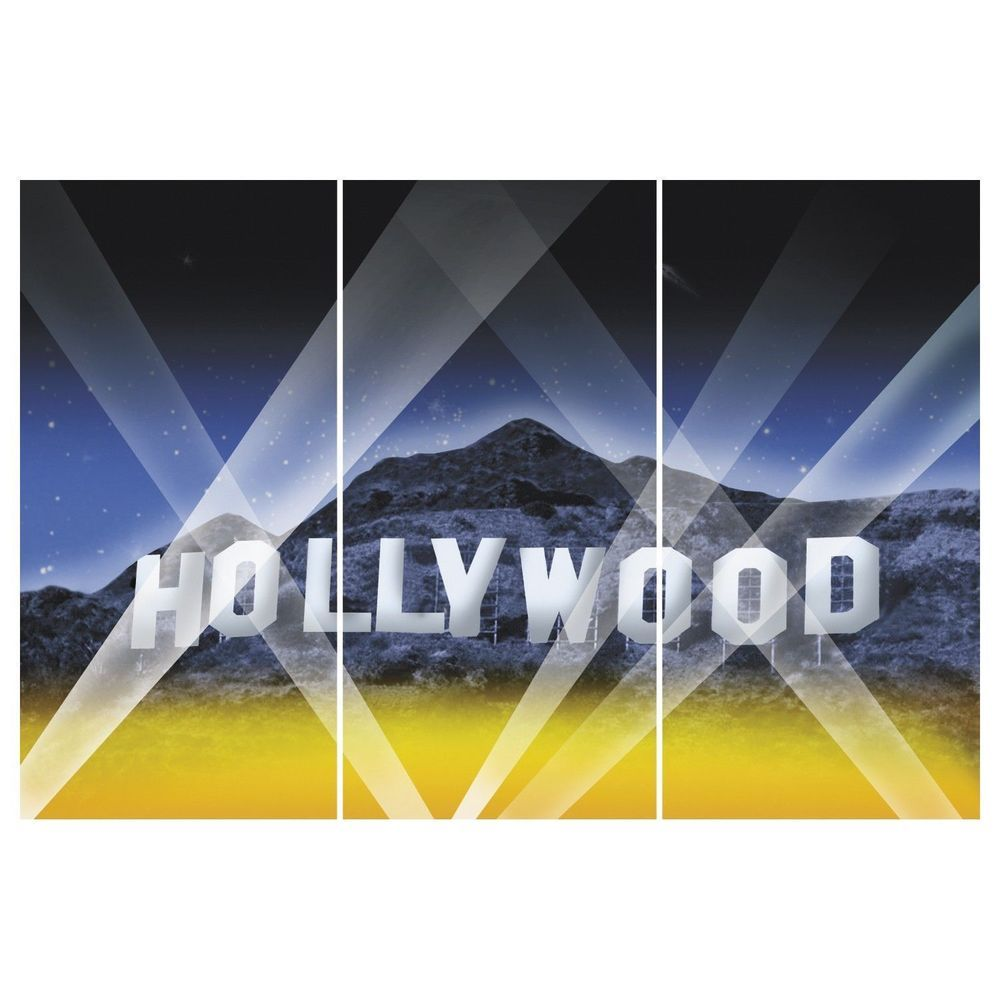 HOLLYWOOD / MOVIE NIGHT / AWARDS Party Decoration Wall BACKDROP Prop ~ NEW. Great for use as a decoration or photo backdrop for your Hollywood themed party. 3 piece set, creates 1 backdrop. PLASTIC backdrop is approx 9ft x 6ft once assembled. | eBay!