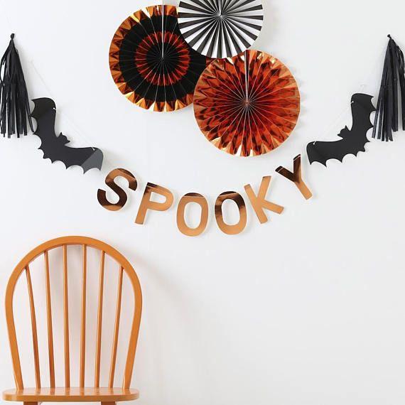 Spooky Bat Garland Decoration Kit Lovely Foil Orange Mylar