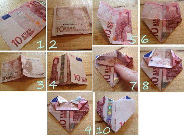 10 euro geldschein zu einem herzen falten eurogami pinterest geld geld falten und geld. Black Bedroom Furniture Sets. Home Design Ideas