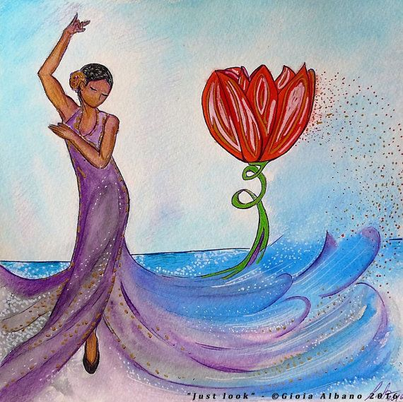 Woman image.Red tulip.Flamenco.Dancing woman.Womanhood art.Small painting.Sea…