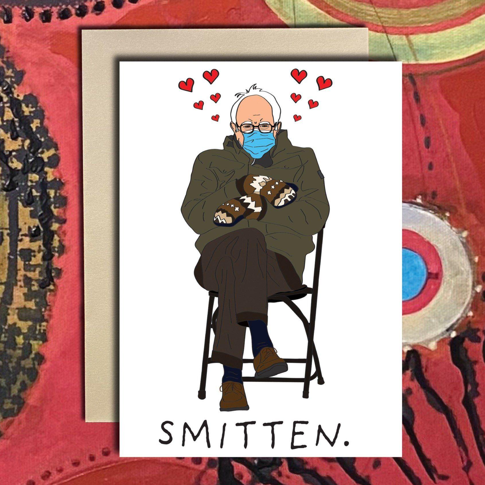Bernie Sanders Inauguration Mittens Valentine S Day Card In 2021 Funniest Valentines Cards Valentines Cards Valentines Memes