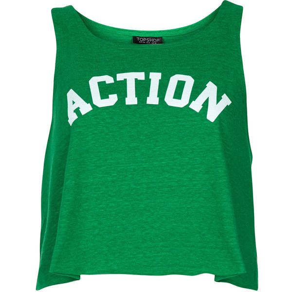 TOPSHOP Action Vest ($16) ❤ liked on Polyvore featuring tops, shirts, tank tops, t-shirts, green, vest top, green tank, shirt crop top, topshop and green shirt