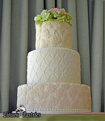 southern belle cake, lace wedding cake with blush details #eloisespastries , classic wedding summer spring wedding cakes