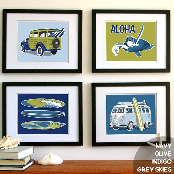Surfer Beach Boy Wall Art Set Of Four Unframed Art Prints