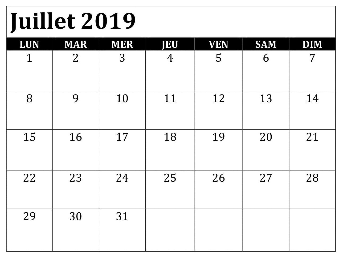 Juillet Calendrier Blanc 2019 Printable Calendar July Calendar
