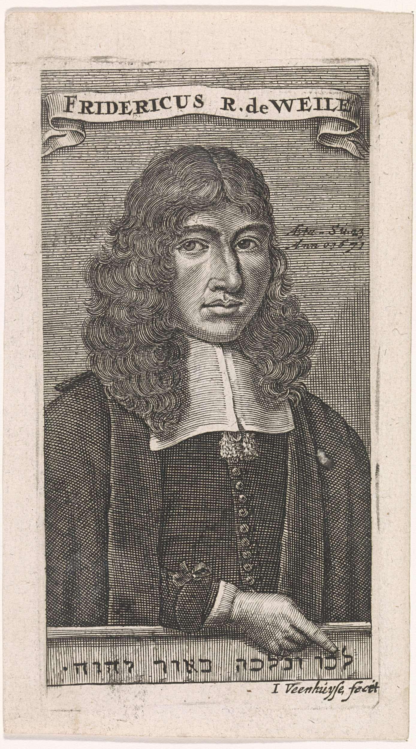 Jan Veenhuysen   Portret van de predikant Frederik Rastat van Weilo, Jan Veenhuysen, 1671   Frederik Rastat van Weilo op op 32-jarige leeftijd, wijzenmd op een Hebreeuwse inscriptie. Hij liet zich in Kleef van het Jodendom omdopen tot het Christendom, werd predikant in Spijk.
