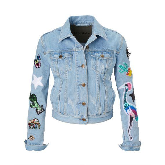 jeansjacke mit patches und seitlichen eingrifftaschen von kengstar conleys blue jeans baby. Black Bedroom Furniture Sets. Home Design Ideas
