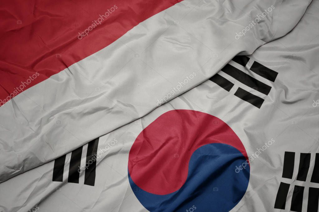 Waving Colorful Flag Of South Korea And National Flag Of Indonesia Sto Sponsored Flag South Waving Colorful Ad National Flag Flag South Korea