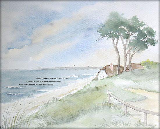 Ahrenshoop Aquarell 24 X 30 Cm Original Landschaft In