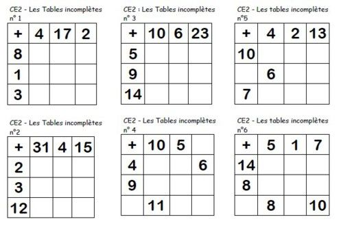 Les tables incompl tes additives ce2 ce2 pinterest for Table de multiplication jeux ce2