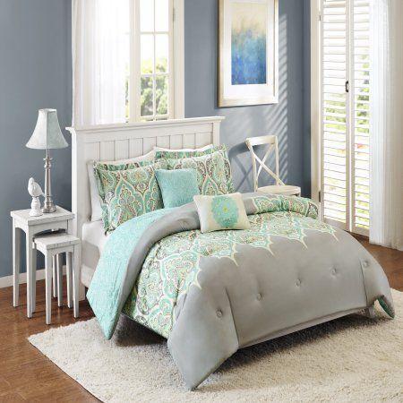Better Homes And Gardens Kashmir 5 Piece Bedding Comforter Set Gray