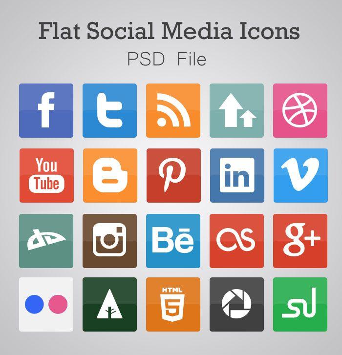 25 Flat Design Inspiration For Designers Social Media Icons Social Media Social Icons