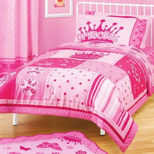 Girl Pink Princess Crown Flower Polka Dot Twin Full Comforter By A