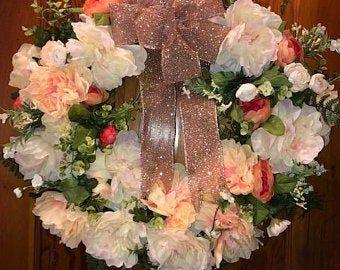 Gold Brown Magnolia Hydrangea Vintage Grapevine Wreath