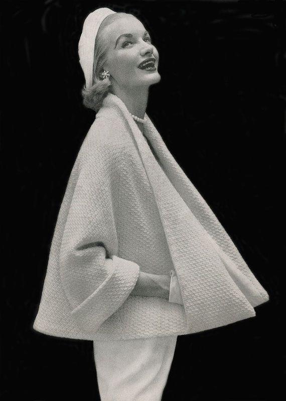Modèle de tricot manteau Cape vintage des années 1950 téléchargement immédiat PDF