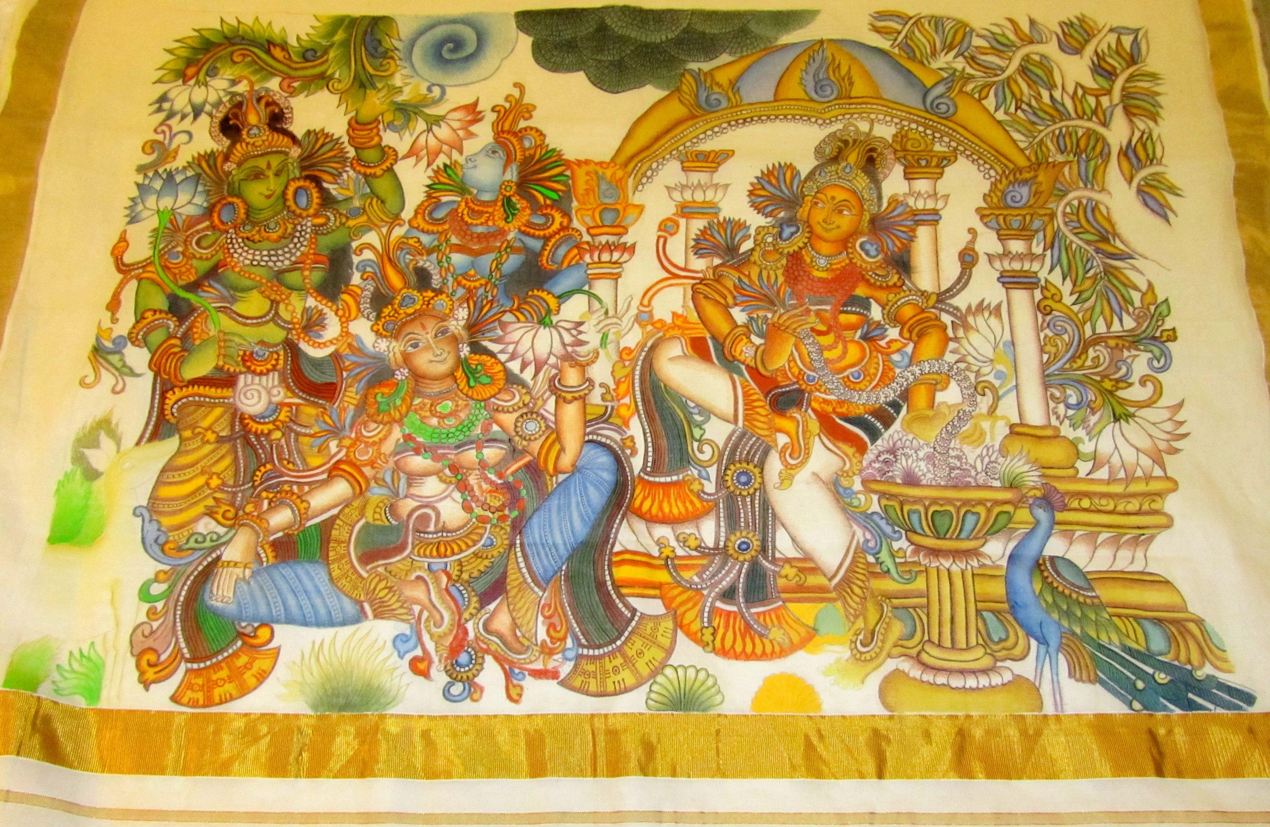 Mural painted saree for Ananthasayanam mural painting