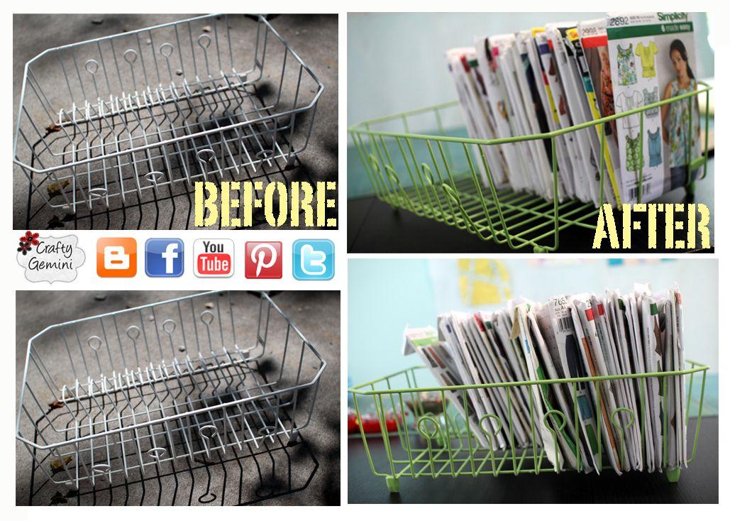dish rack turned sewing pattern storage idea by @CraftyGemini ...