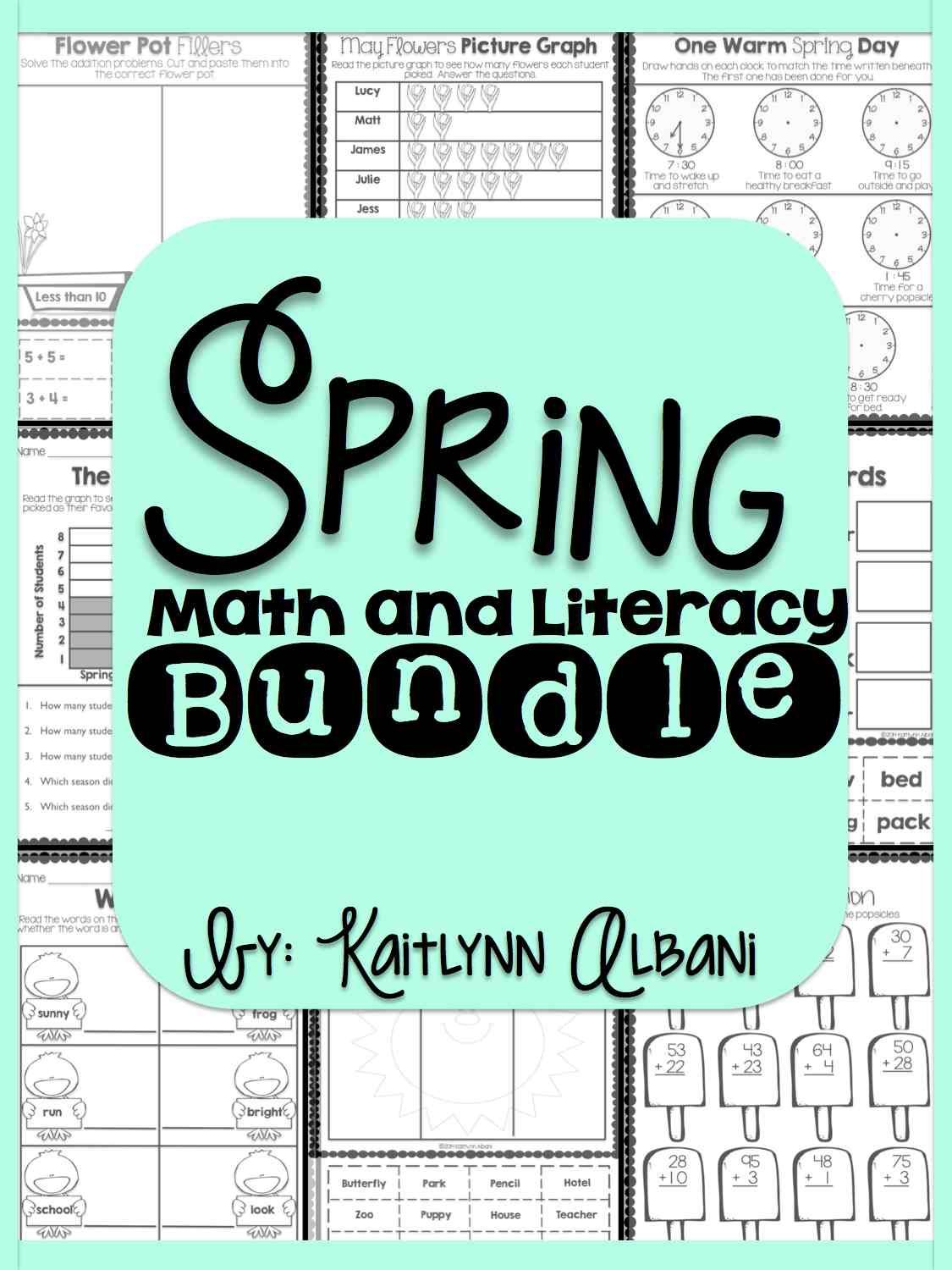 Spring Math And Literacy Bundle For First Grade 130 Pages