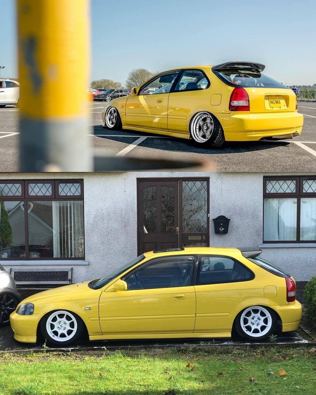 Yellow Ek Hatchback Honda Civic Hatchback Honda Civic Civic Hatchback