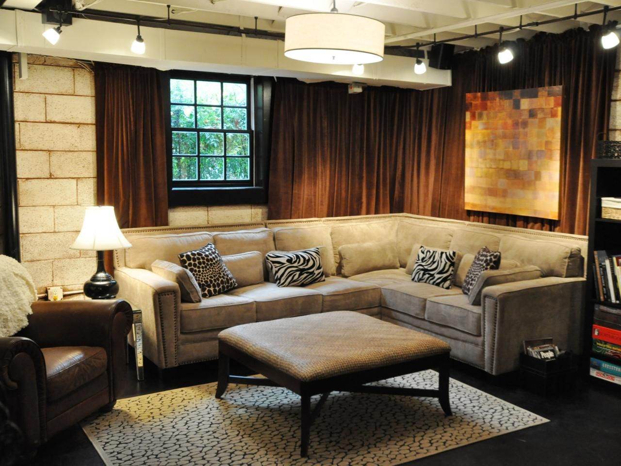 Basement design ideas basements ceiling and industrial for Unfinished basement walls