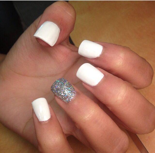 White Nails With Glitter Accent Nail Nails 3 Pinterest