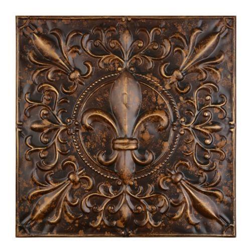 Embossed Bronze Fleur De Lis Metal Tile Tuscan Decorating Fleur De Lis Metal Tile