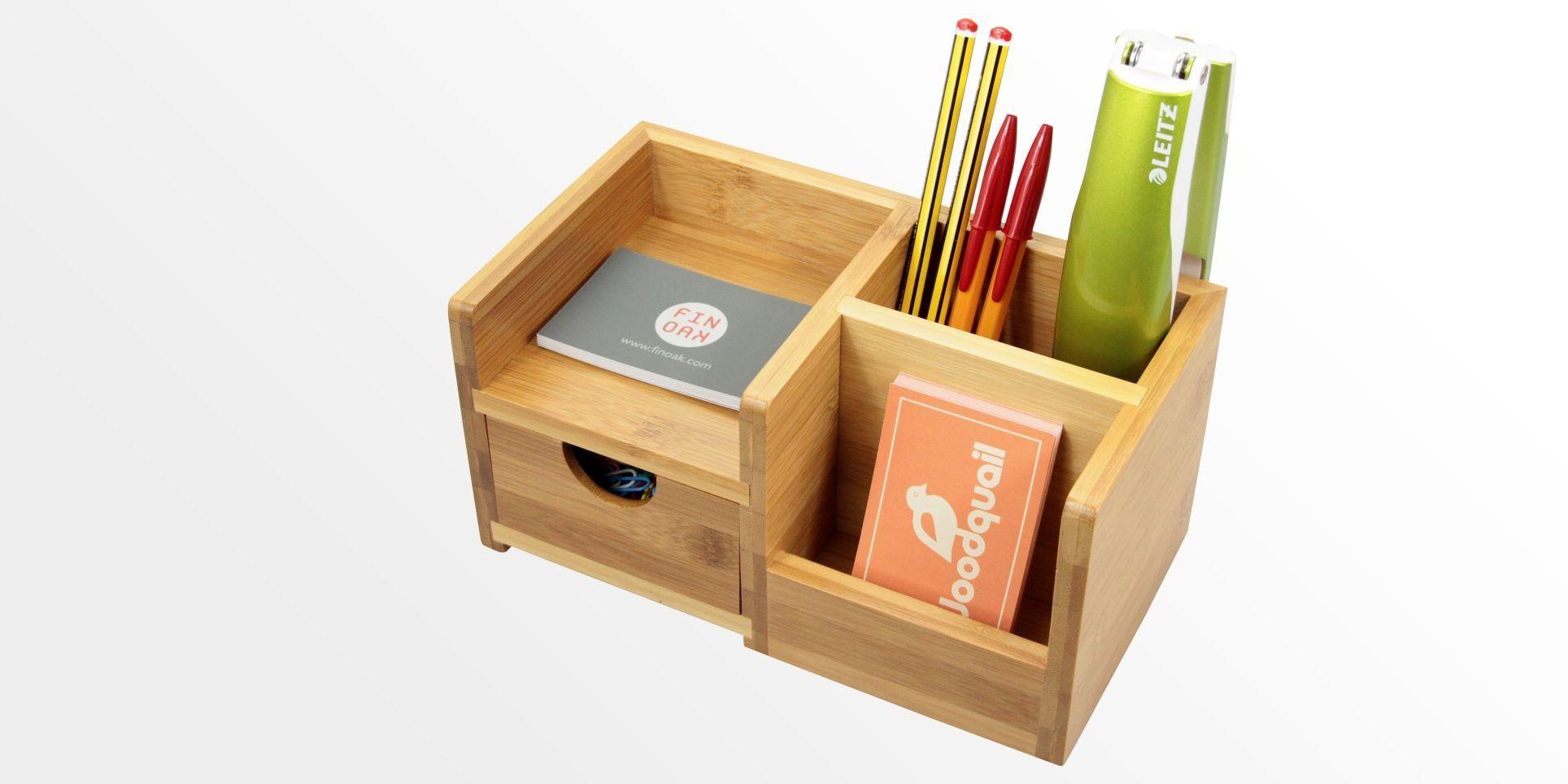 Desk Organiser Pen Holder And Drawer Bamboo Stationery Box Office Supplies Wooden Desk Organizer Desk Organization Desk Tidy