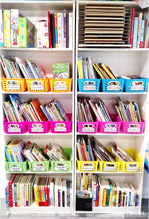 Playroom Book Organization With Oriental Trading Color Coded System Playroom Organization Organizing Kids Books Book Organization