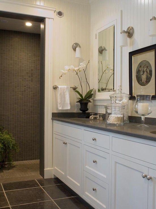 Beautiful White U0026 Gray Bathroom Design With White Beadboard, White Bathroom  Cabinets, Gray Corian .