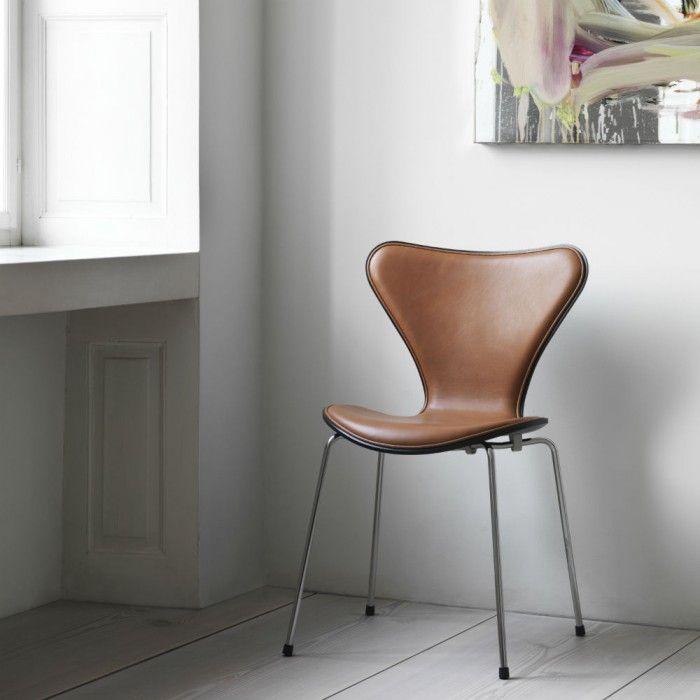 7 er stol Fritz Hansen 7'er stol forsidepolstret med cognac læder   Fritz  7 er stol
