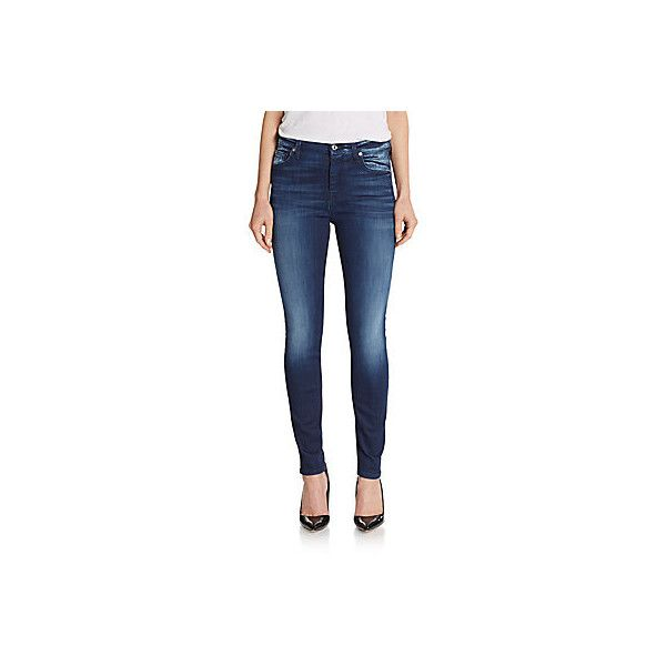 7 For All Mankind High-Waist Skinny Jeans ($90) ❤ liked on Polyvore featuring jeans, blue, high waisted skinny jeans, high rise skinny jeans, highwaisted skinny jeans, high-waisted jeans and faded skinny jeans