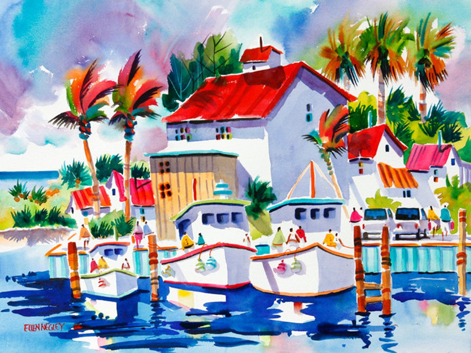 Florida Art Boat Watercolor Print Coastal Decor Ellen Negley