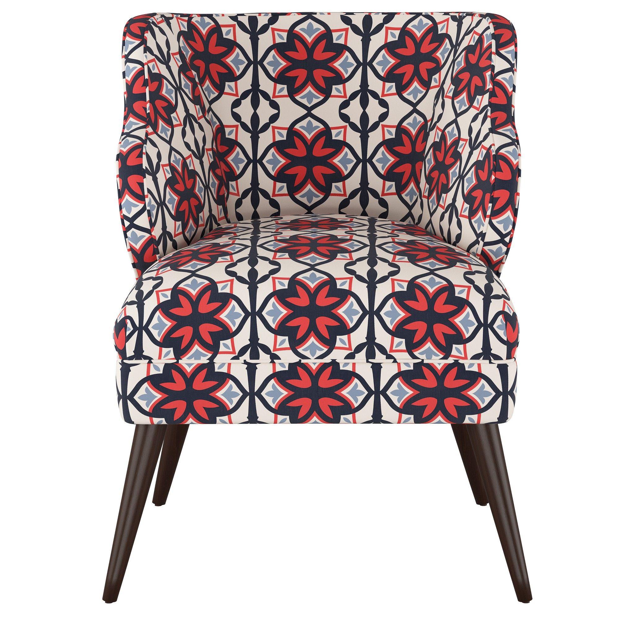 Mandolene Mid Century Arm Chair Geo Print Blue  Project