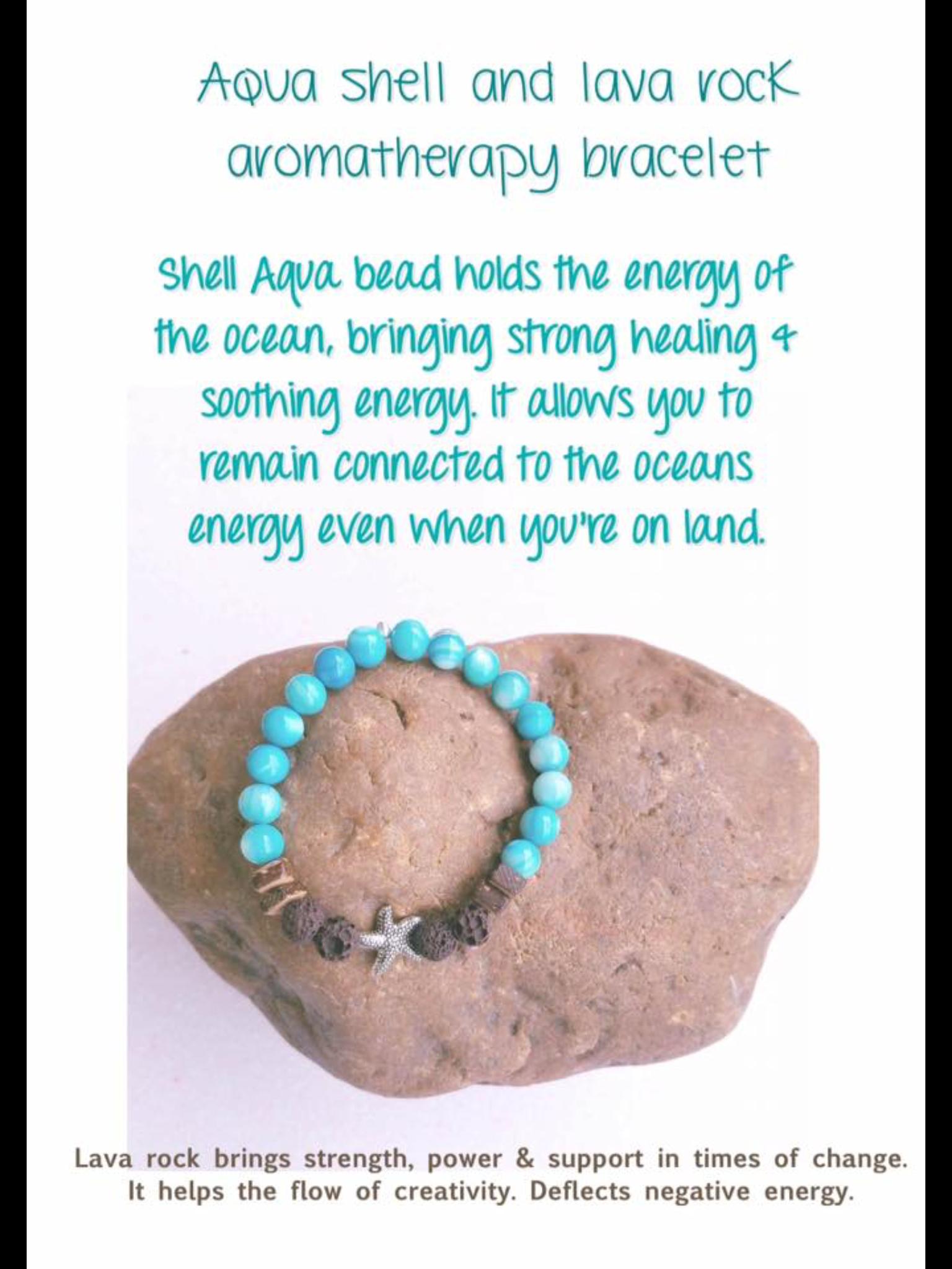 $10.00 shell Aqua & lava rock starfish aromatherapy bracelet https://www.facebook.com/3eyedgoddess/