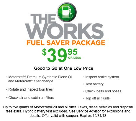 The Works Fuel Saver Package 39 95 The Works Includes An Oil