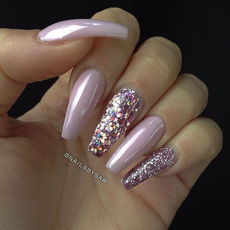 Baby Pink + Pink Holographic Glitter + Pink Glitter Long Coffin Nails #nail  #nailart - Sweet Cotton Candy Nail Colors And Designs Holographic Glitter