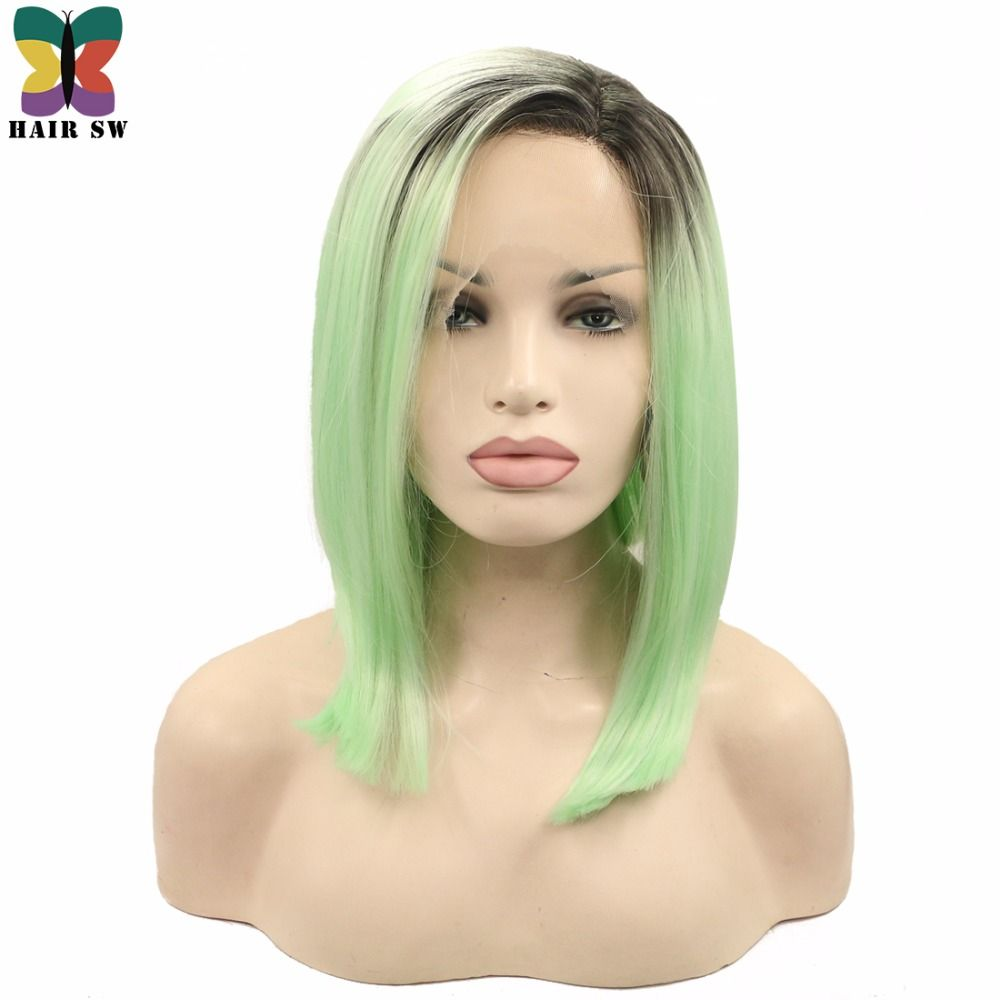 Hair sw short silky straight synthetic lace front wig ombre pastel