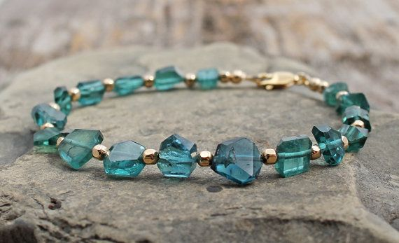 Gold filled Tourmaline fluorite bracelet