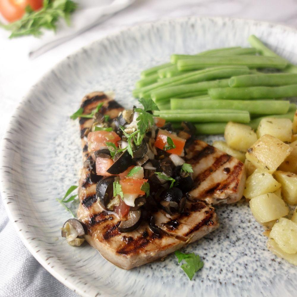 Italian Tuna Steak Olive Caper Salsa Recipe Italian Tuna Tuna Steaks Tuna Steak Recipes
