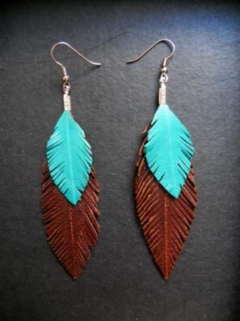 diseño innovador Super descuento nueva alta calidad pendientes de pluma de cuero pendientes de pluma de cuero ...